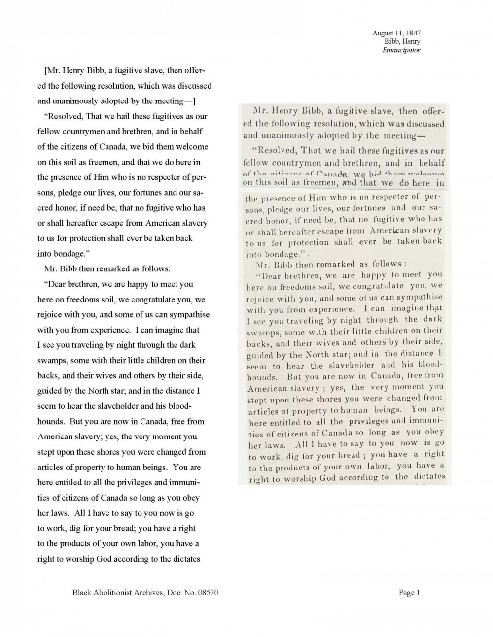Henry Bibb, August 11, 1847 (page 1)