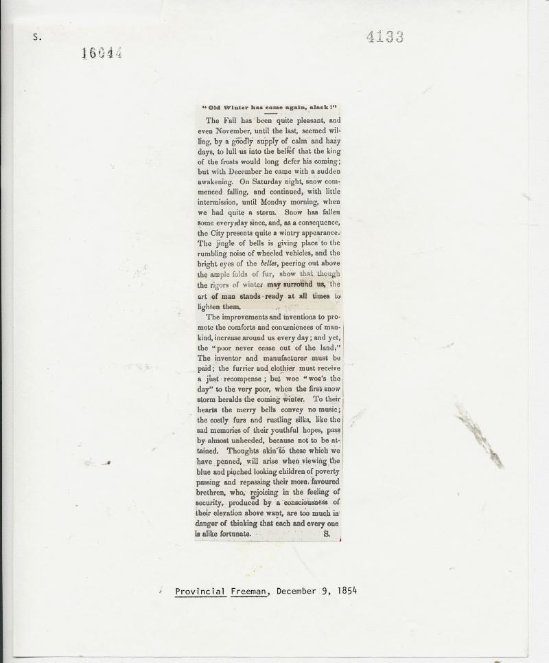Provincial Freeman December 9, 1854